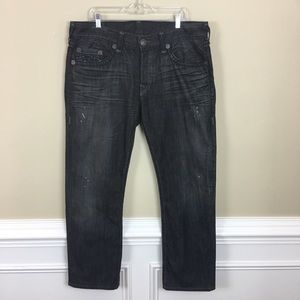 True Religion Men's Button Fly Black Jeans 38x31